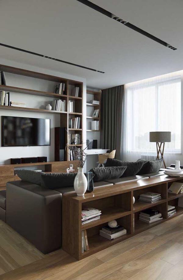 Sala de TV com cortinas modernas