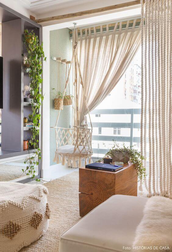 Cortina no quarto moderno
