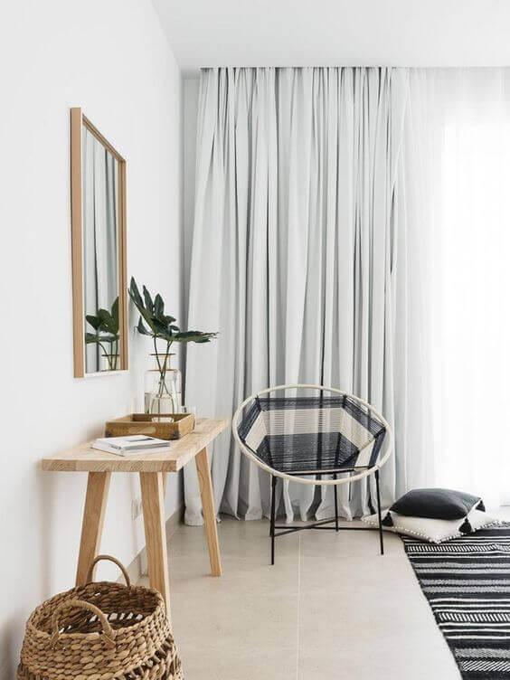 Cortineiro de gesso embutido na sala de estar moderna