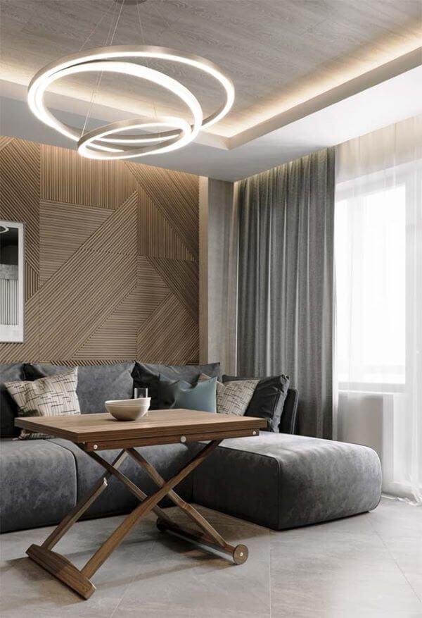 Sala de estar com cortineiro de gesso