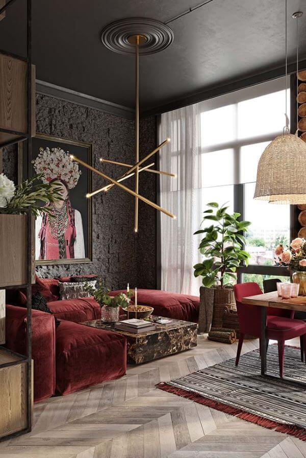 Sala de estar moderna com cortineira embutido