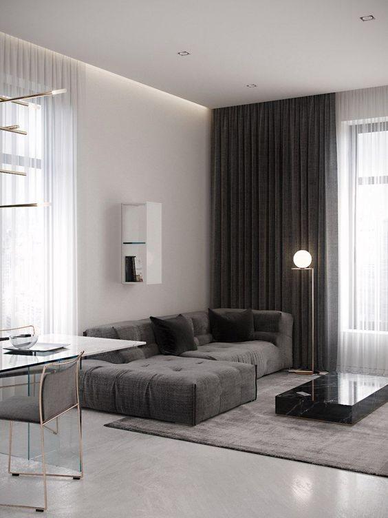 Cortineiro de gesso na sala de estar