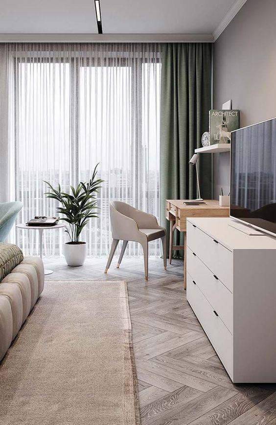 Cortineiro de gesso para sala de estar clean