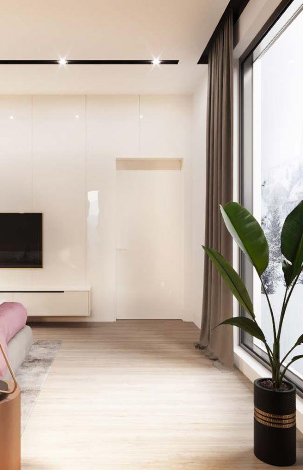 Cortineiro de gesso com cortina cinza