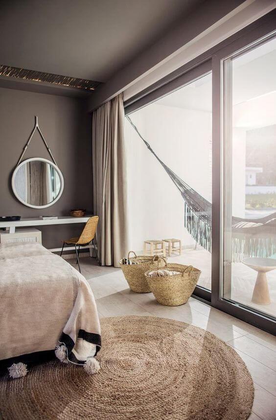 Cortina de gesso sobreposto no quarto moderno