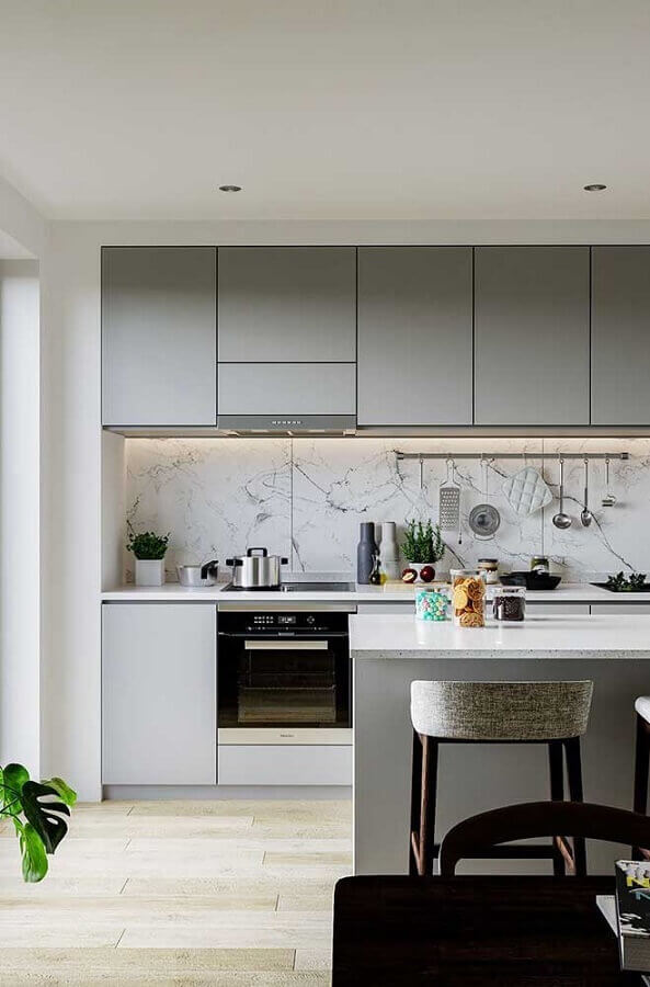 cozinha completa cinza com ilha Foto Pinterest