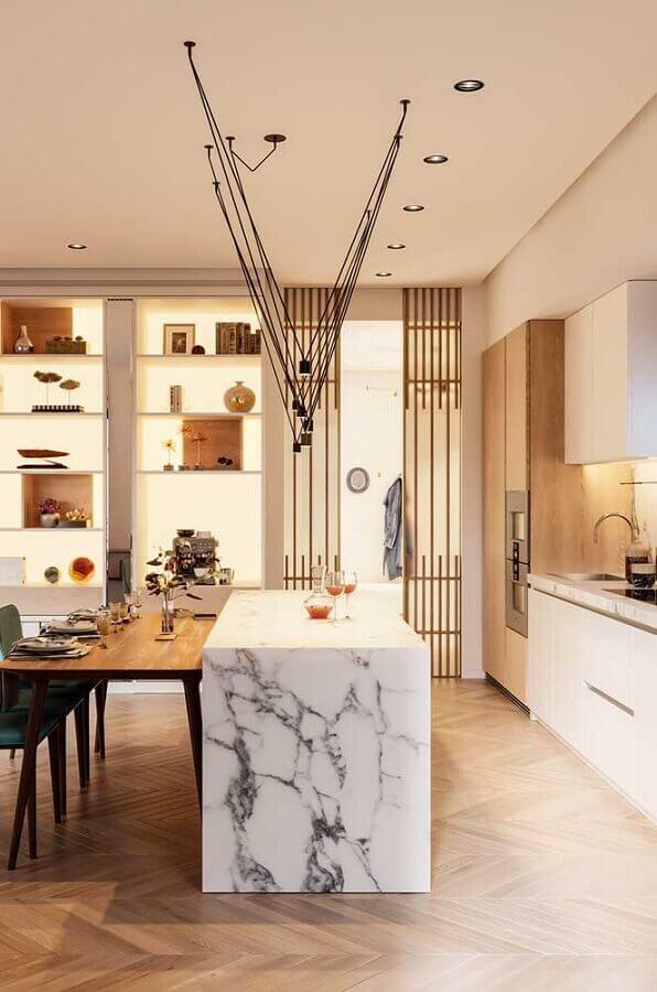 cozinha completa com ilha de mármore Foto Behance