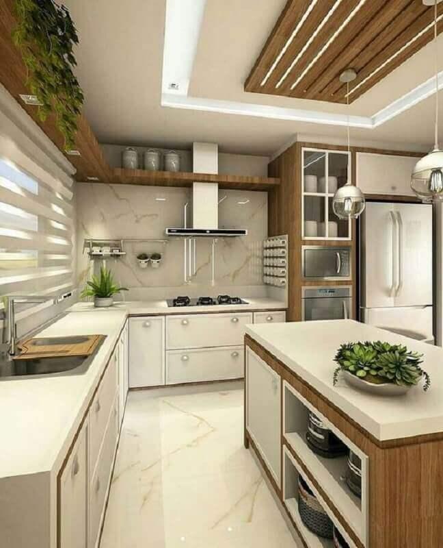 cozinha completa planejada com ilha Foto Pinterest