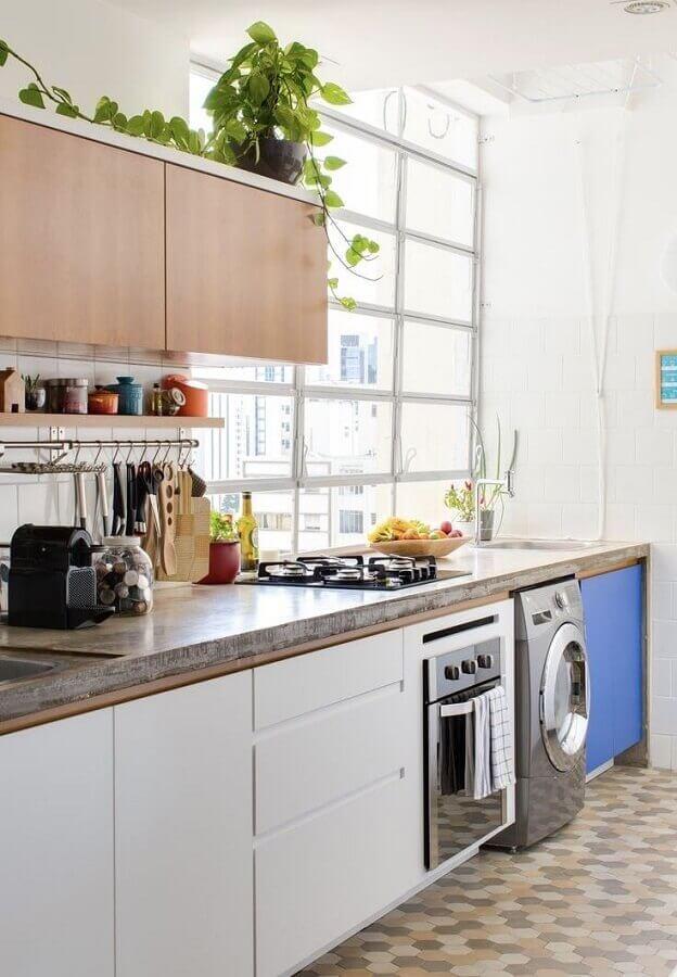 cozinha completa simples com lavanderia Foto Pinterest