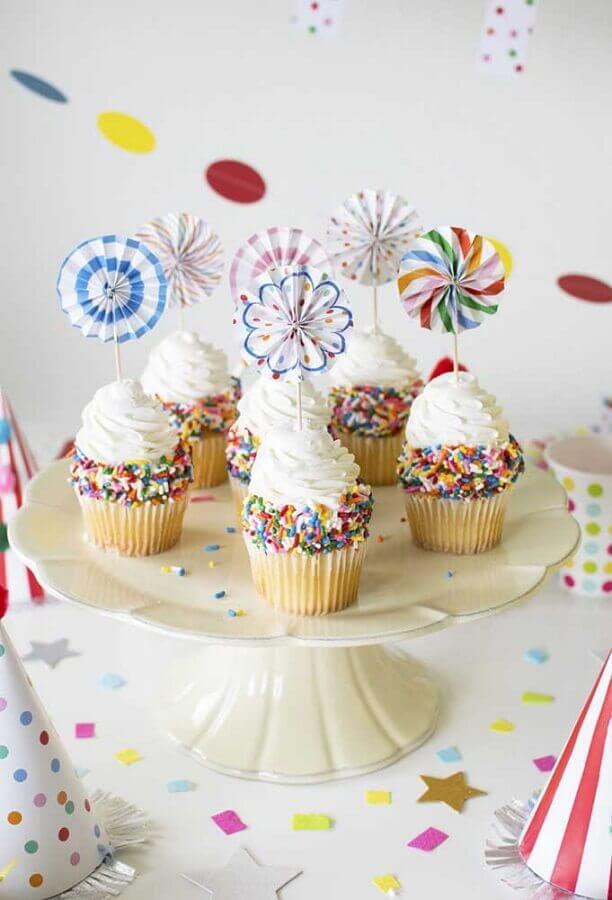 cupcakes coloridos decorados para festa infantil simples Foto Ideias Decor