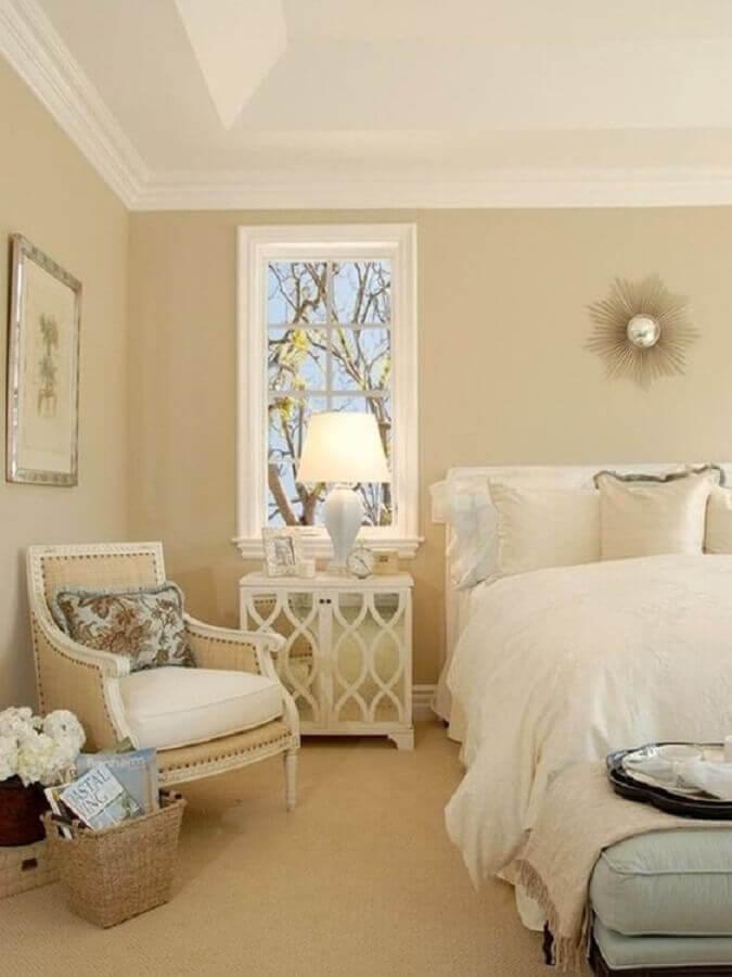 decoração clássica para quarto na cor creme Foto Pinterest