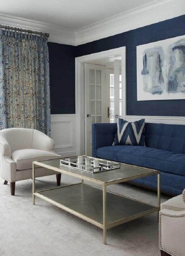 decoração clássica para sala azul marinho e branca Foto Pinterest