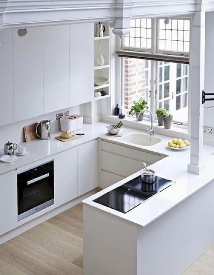 decoração clean para cozinha completa em U toda branca Foto Casa & Festa Decoração