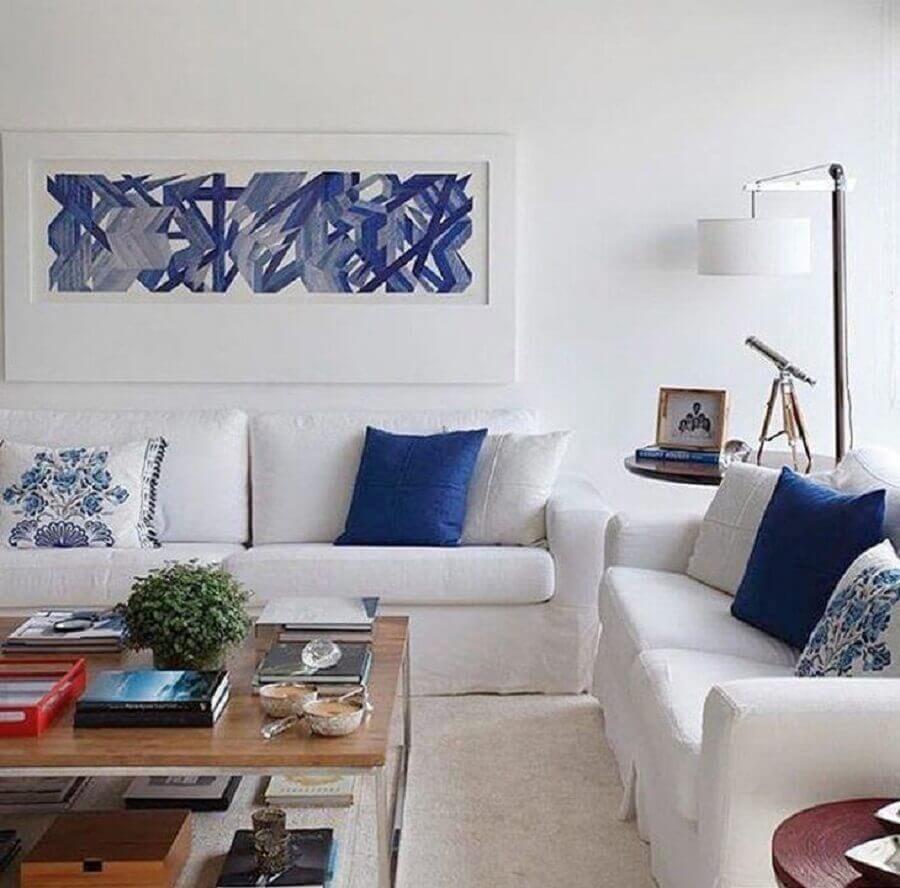 decoração clean para sala azul e branca Foto Migs Arquitetura