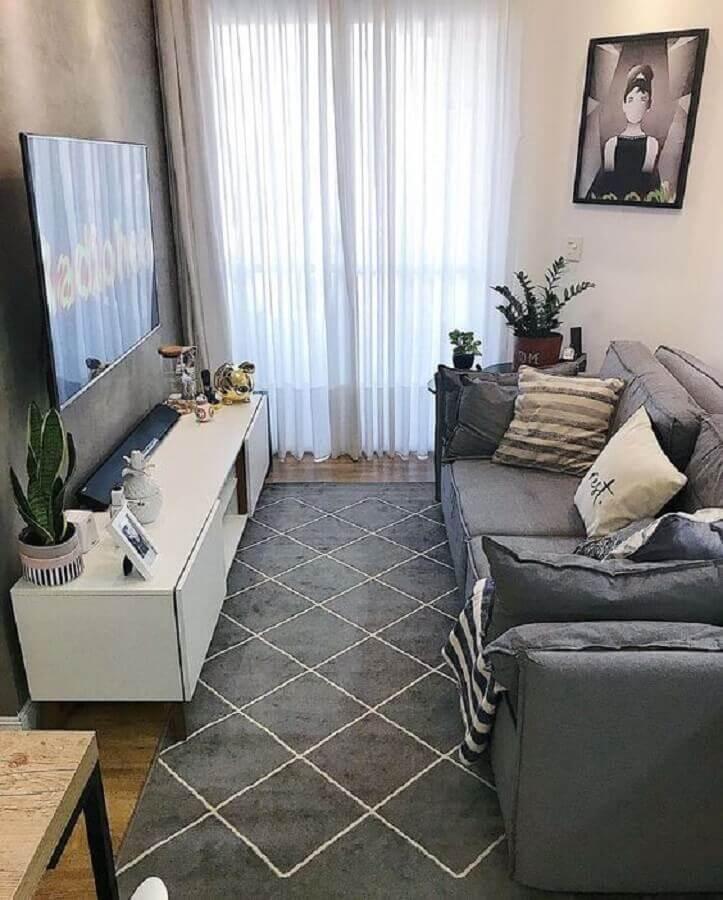 decoração com tapete cinza para sala pequena Foto Pinterest