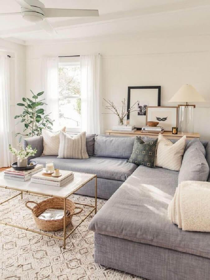 decoração com tapete para sala branca e cinza Foto Pinterest