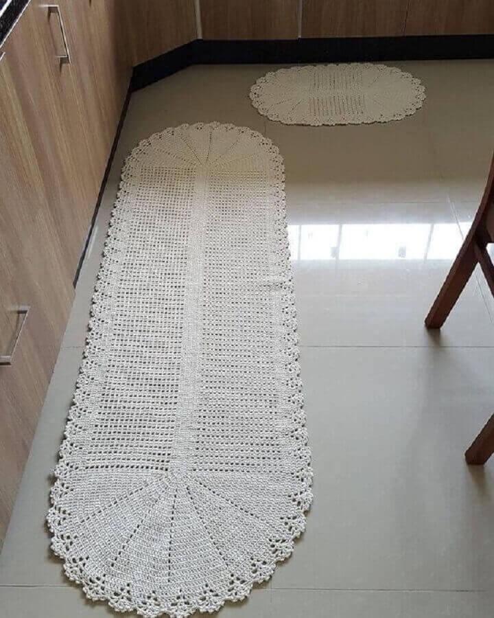 decoração com tapete passadeira de crochê Foto Pinterest