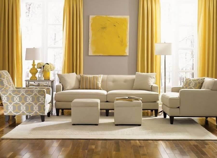 decoração cor creme e amarelo para sala de estar Foto Pinterest