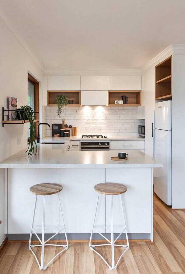 decoração cozinha completa americana toda branca Foto Pinterest
