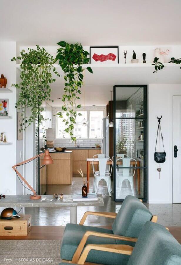 decoração de casa moderna com plantas pendentes Foto Pinterest