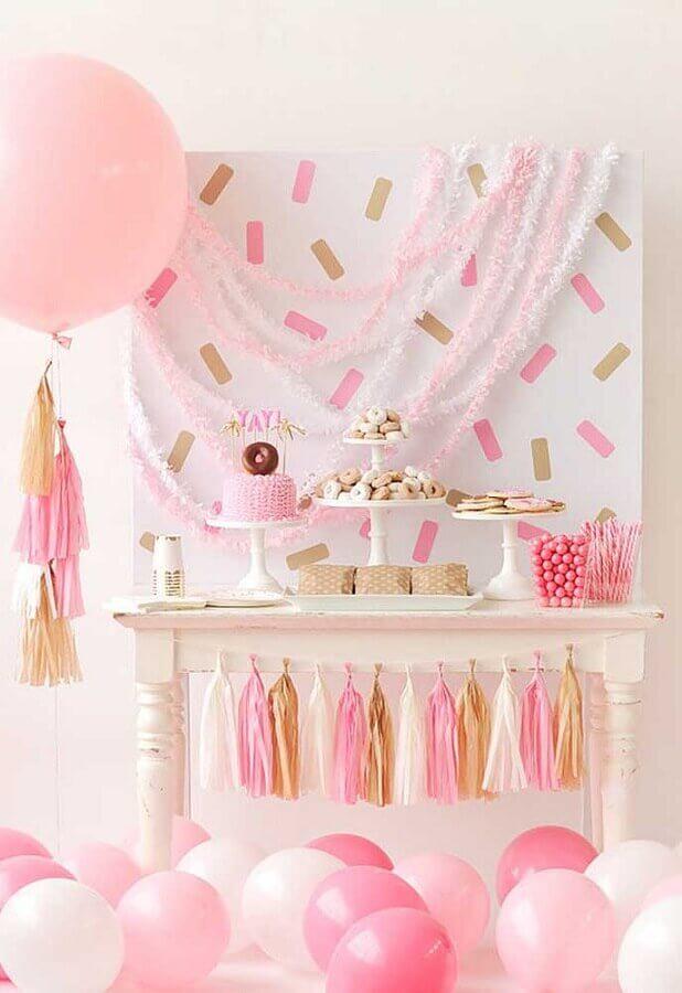 decoração de festa infantil simples branca e rosa Foto Ideias Decor