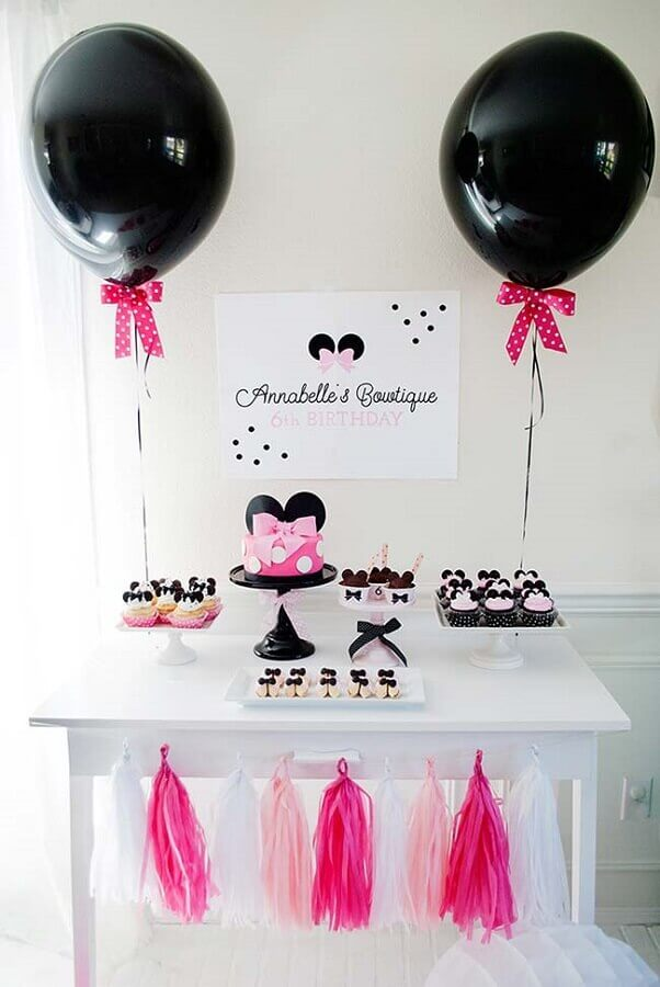decoração de festa infantil simples e barata com tema Minnie Foto A Minha Festinha