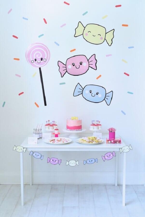 decoração de festa infantil simples e barata com tema jujubas Foto Karas Party Ideas