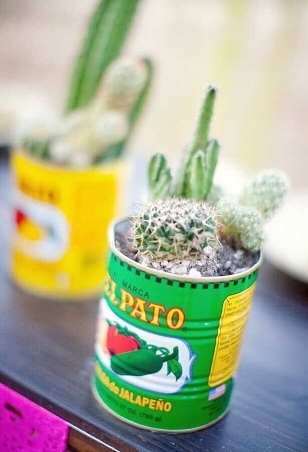 Mexican party decoration with cactus inside tins Photo Brit + Co