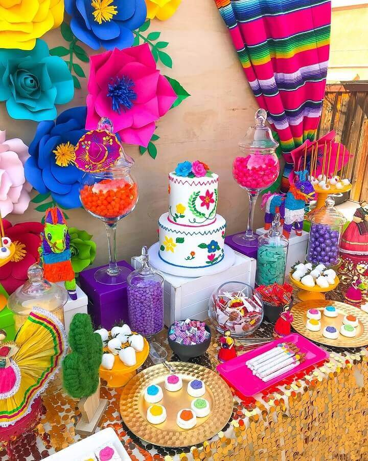 Mexican party table decoration Photo Sweet Tooth Candy Buffets