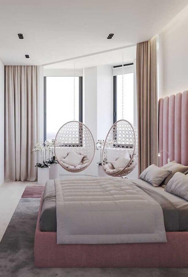 decoração de quarto de solteiro feminino moderno com cadeira de balanço suspensa Foto Pinterest