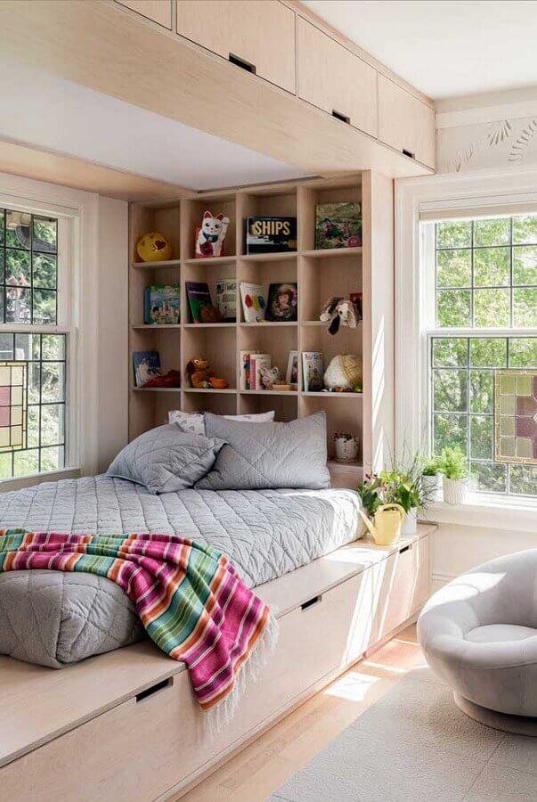 decoração de quarto de solteiro feminino planejado Foto Pinterest