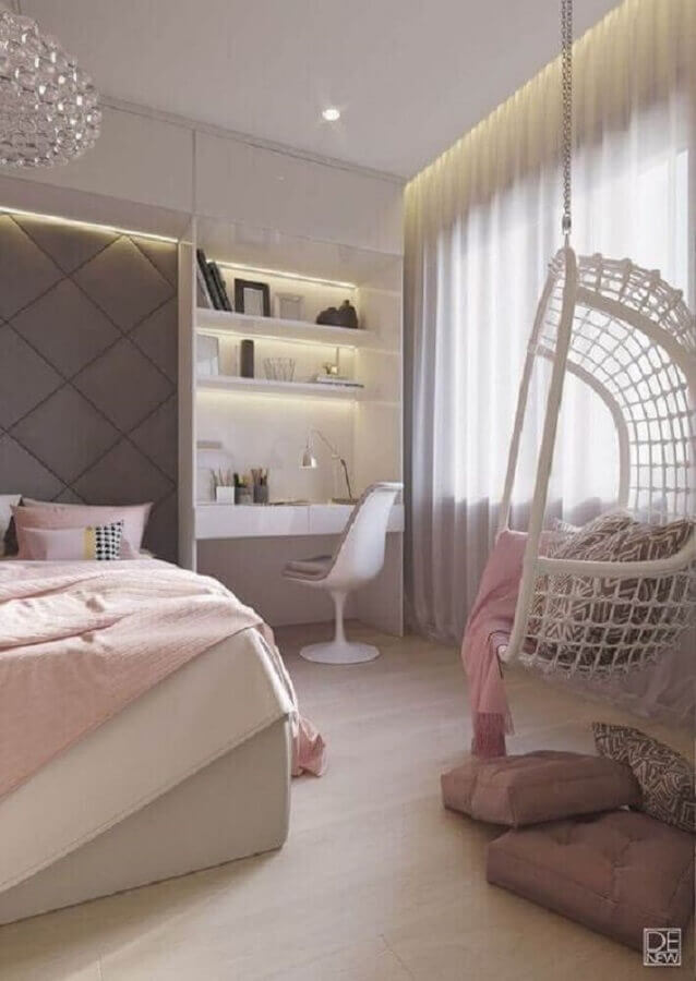 decoração de quarto de solteiro feminino planejado com cadeira de balanço suspensa Foto Pinterest
