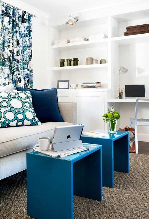 decoração de sala azul e branco Foto Decoholic
