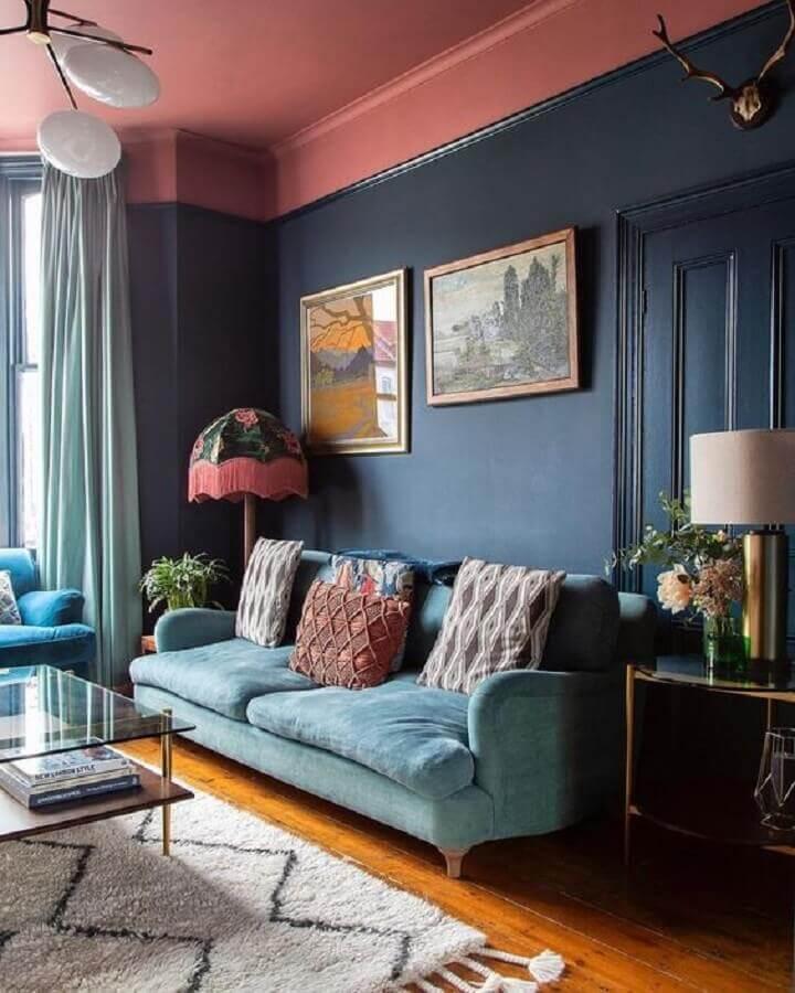 decoração de sala azul e rosa Foto Casa Vogue
