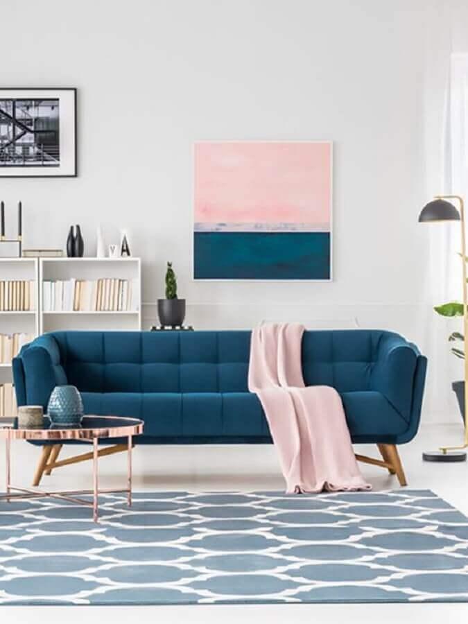 decoração de sala azul e rosa Foto New Home Design