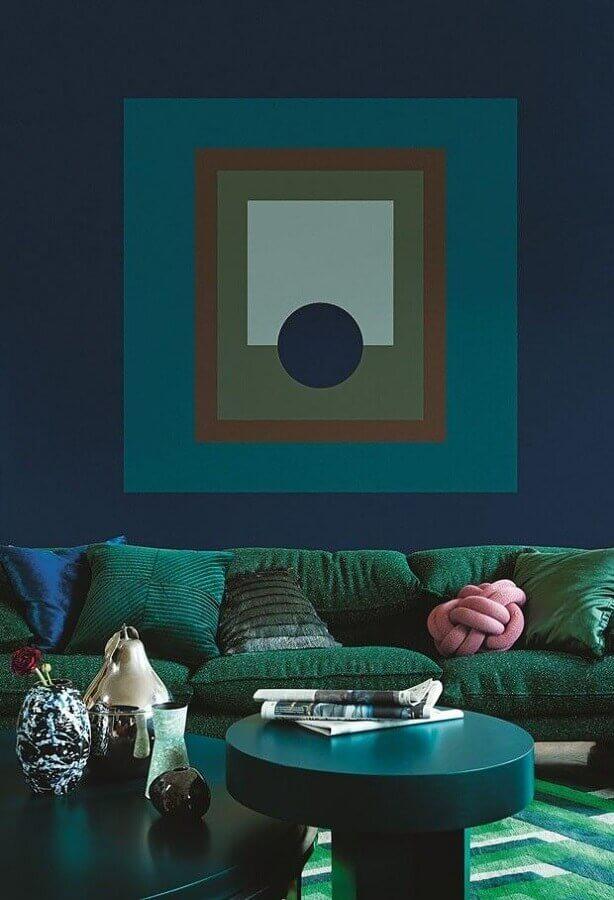 decoração de sala azul e verde Foto Delicato Planejados
