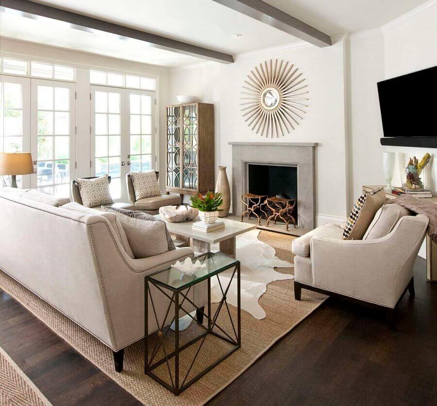 decoração de sala clássica com tapete sisal Foto Pinterest