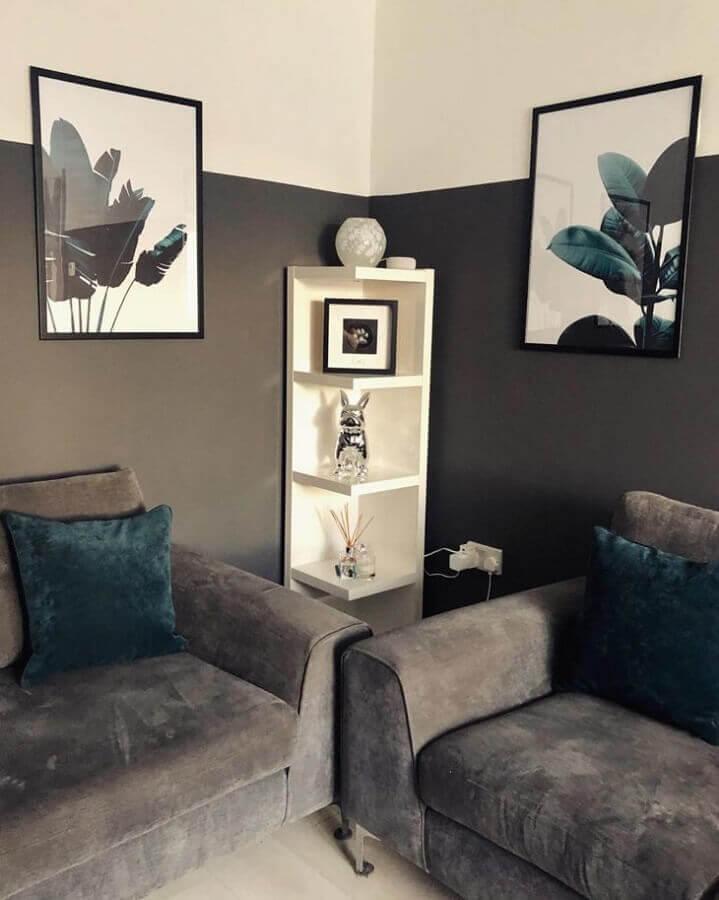 decoração de sala simples na cor cinza chumbo Foto Life on Primrose Lane