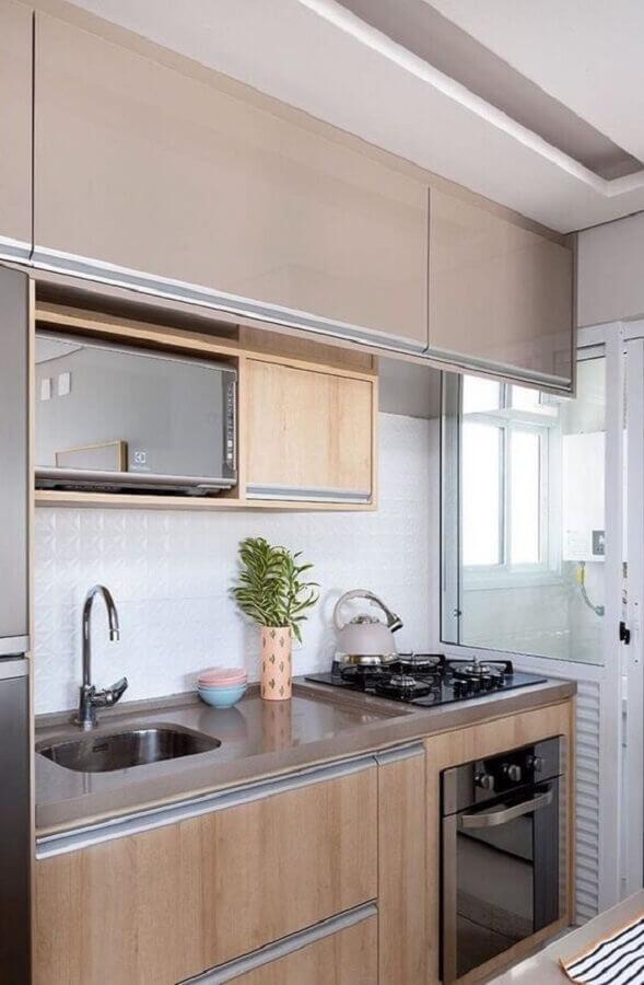 decoração em cores neutras para cozinha compacta completa Foto Manual da Obra