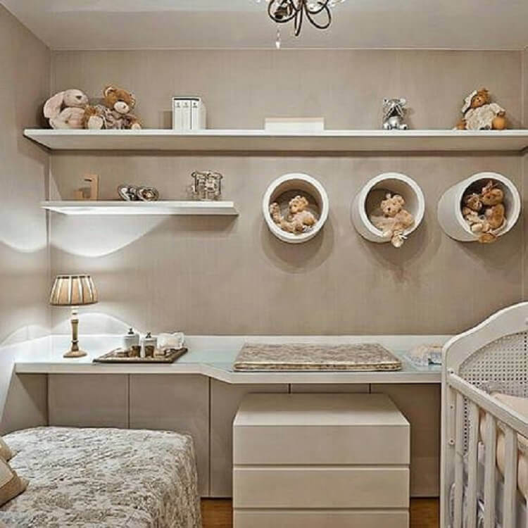 decoração em tons neutros para quarto de bebê planejado com nichos redondos Foto Sou Mãe
