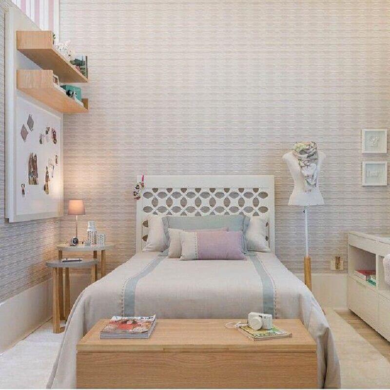 decoração em tons neutros para quarto de solteiro feminino Foto Pinterest