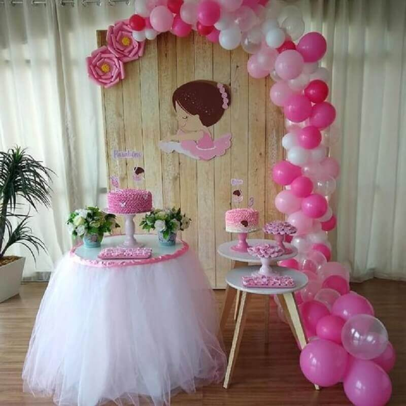 decoration simple ballerina party as theme of mesversário Foto Ideias em Casa