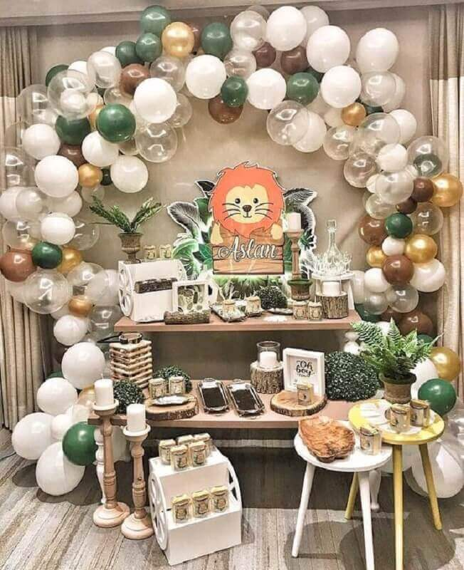 decoration lion boy party for mesversário themes Foto Iza Events