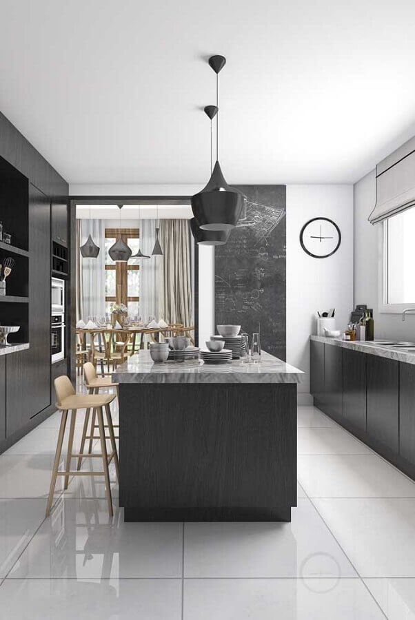 decoração moderna para cozinha completa com ilha cinza Foto Futurist Architecture