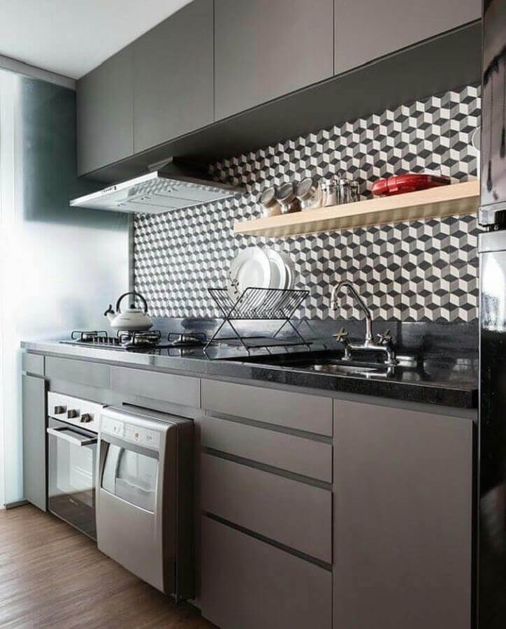 decoração moderna para cozinha completa preta Foto ArchDaily