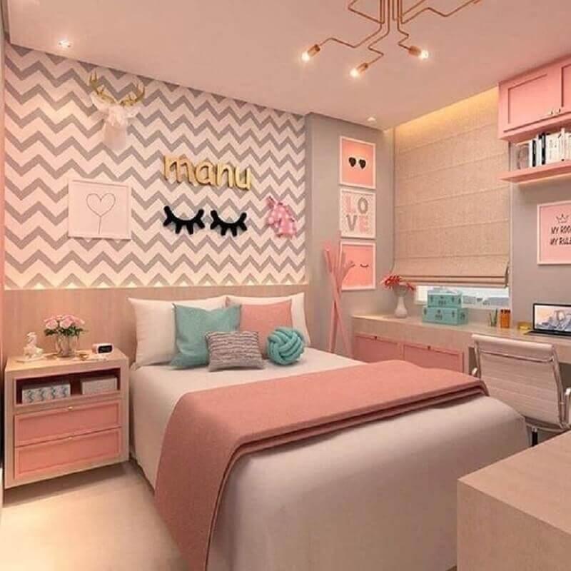 decoração moderna para quarto de menina unicórnio cinza e rosa Foto Pinterest