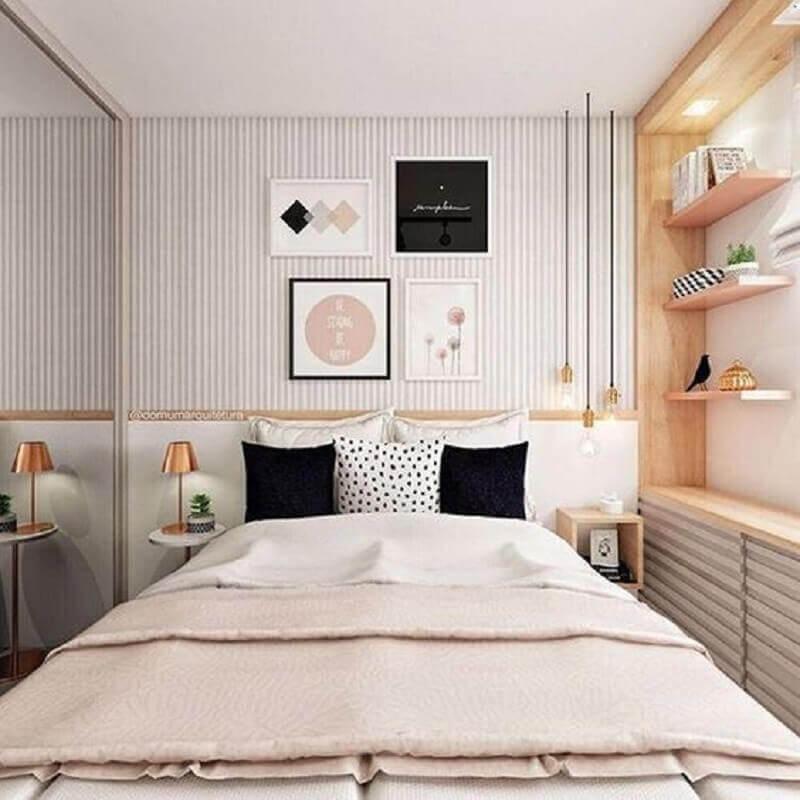 decoração moderna para quarto de solteiro feminino planejado Foto Eu Capricho