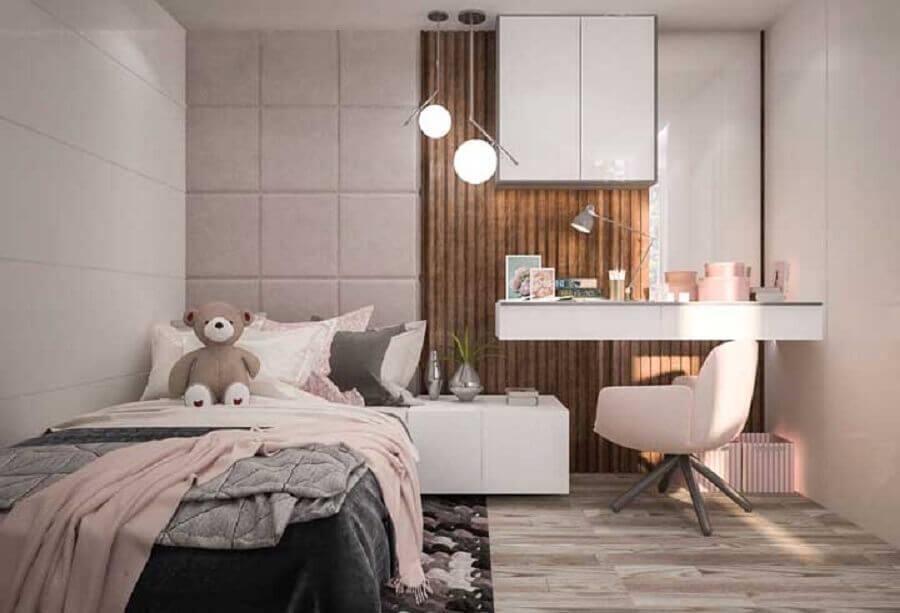 decoração moderna para quarto de solteiro feminino planejado Foto Webcomunica