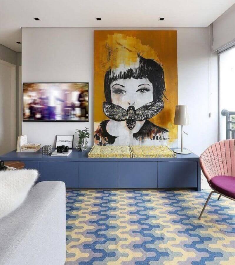 decoração moderna para sala azul e branca Foto Loft87 Arquitetura