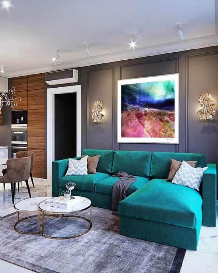 decoração moderna para sala azul turquesa e cinza Foto Pinterest